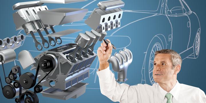 Ingenieur zeichnet an einem 3D-Motor