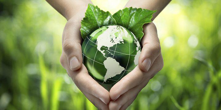Hände halten eine Weltkugel