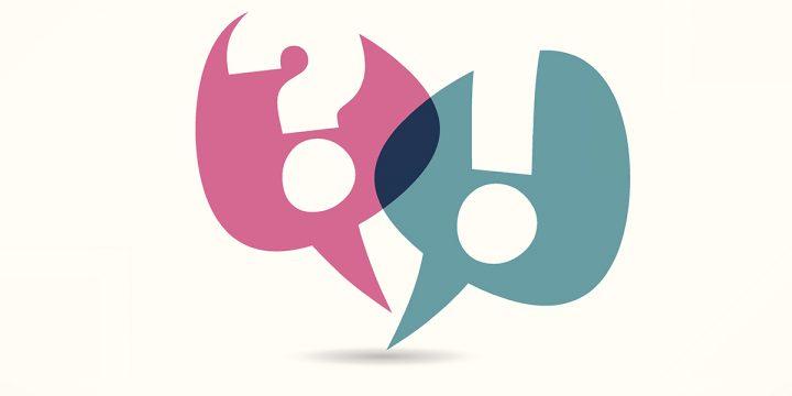 Sprechblasen mit einem Ausrufezeichen und ein Fragezeichen