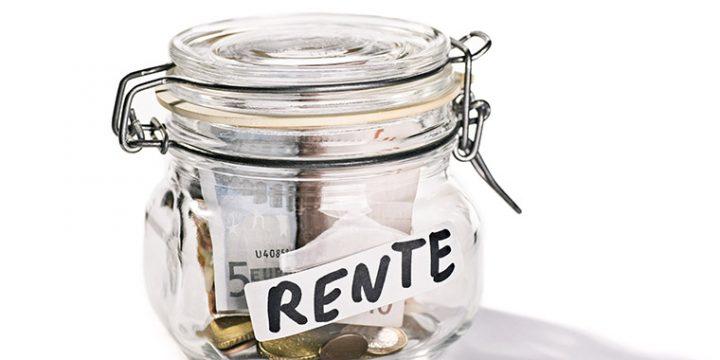Glasgefäß mit der Aufschrift Rente