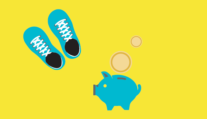 Ein Paar Schuhe und ein Sparschwein