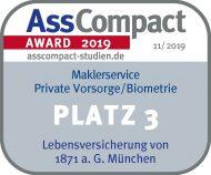 Siegel AssCompact Maklerservice Private Vorsorge / Biometrie Platz 3