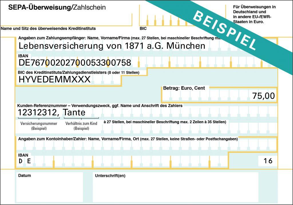 Beispiel für LV 1871 SEPA-Formular